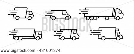 Fast Shipping Delivery Truck And Cargo Logistic Icon Set. Van For Express Freight Transportation Ser