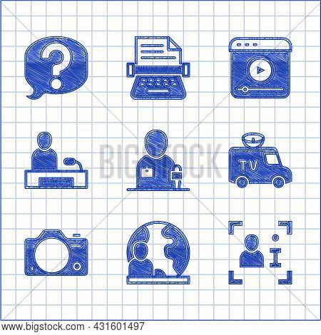 Set Journalist News, World, Television Report, Tv News Car, Photo Camera, Live Stream And Speech Bub