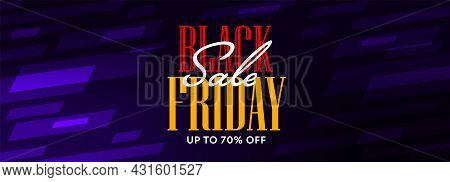 Black Friday Sale Banner With Clearance Up To 70 Percent. Modern Trendy Horizontal Poster Design For