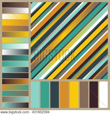 Graphic Striped Seamless Pattern With Autumn Color Swatches And Gradients. Continuous Background Of