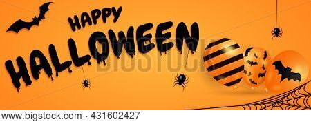 Happy Halloween Banner Or Party Invitation Background With Bats, Balloons And Spiders. Vector Illust