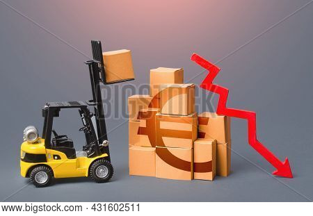 Goods Boxes With Euro Symbol And Red Down Arrow. Revenue Drop In The Trade And Transport Industry. I