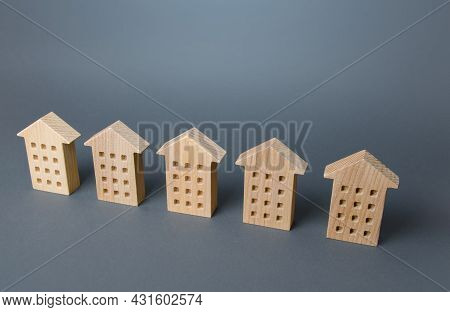 Houses In A Row. Apartment Search Concept. Buying Or Renting Housing. Real Estate Appraisal. Market