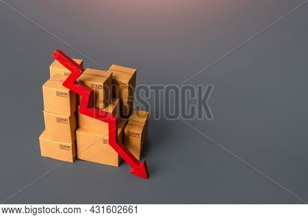 Boxes With Goods And A Red Down Arrow. Revenue Drop In Trade And Transportation Industry. Fall Of Th