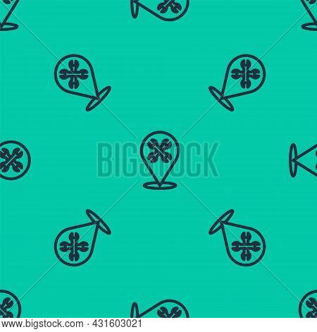 Blue Line Location With Wrench Spanner Icon Isolated Seamless Pattern On Green Background. Adjusting