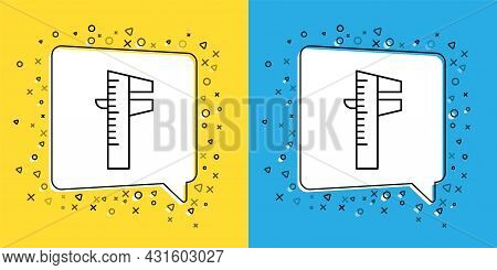 Set Line Calliper Or Caliper And Scale Icon Isolated On Yellow And Blue Background. Precision Measur