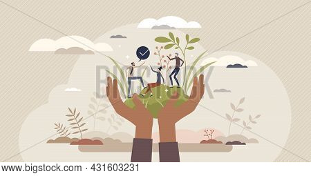 Social Responsibility Or Protection With Corporate Ethics Tiny Person Concept. Business Strategy To