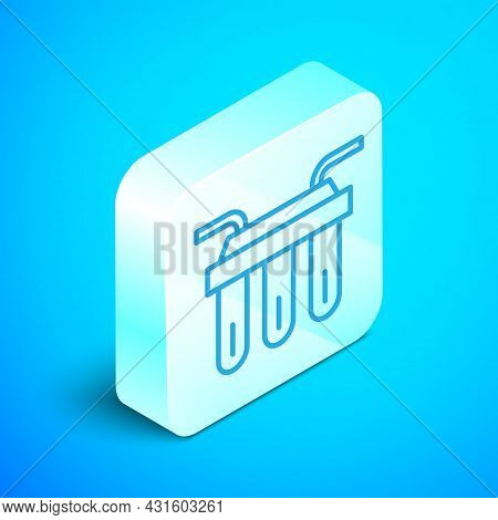 Isometric Line Water Filter Icon Isolated On Blue Background. System For Filtration Of Water. Revers
