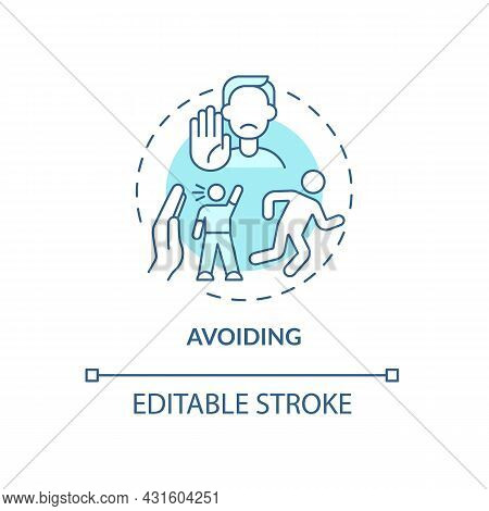 Avoiding Blue Concept Icon. Ignoring Problems With Communication. Conflict Management Strategy Abstr