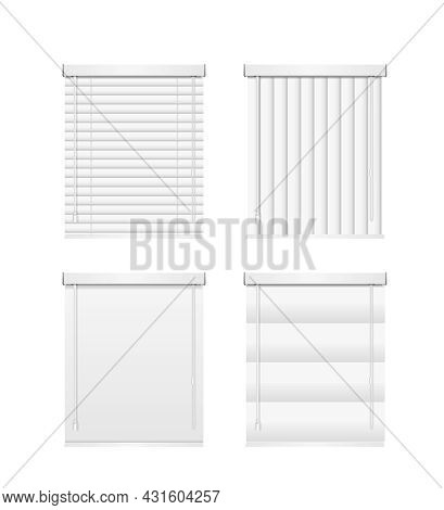 Realistic Detailed 3d Different White Jalousie Empty Template Set Horizontal And Vertical Design Int