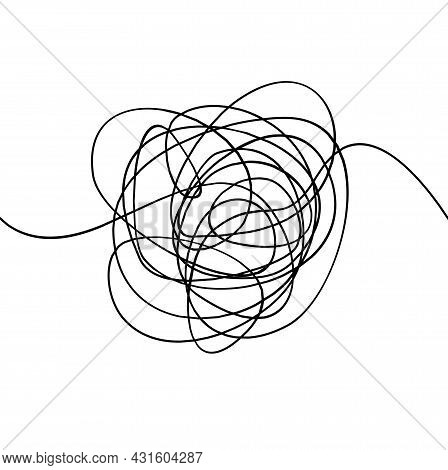 Messy Black Thin Line Abstract Circle Shape Concept Process Or Confused. Vector Illustration Of Tang