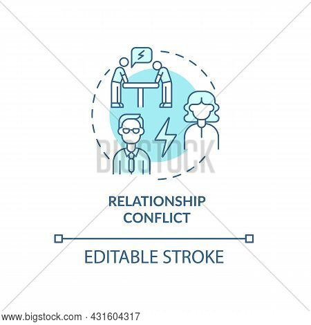 Relationship Conflict Blue Concept Icon. Employee Rivalry. Coworkers Fighting. Conflict Management A