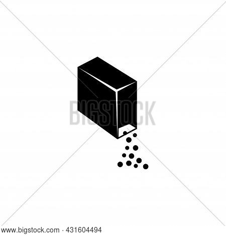 Washing Powder Box, Granules Out Package. Flat Vector Icon Illustration. Simple Black Symbol On Whit