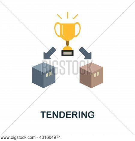 Tendering Flat Icon. Simple Sign From Procurement Process Collection. Creative Tendering Icon Illust
