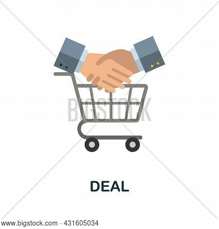 Deal Flat Icon. Simple Sign From Procurement Process Collection. Creative Deal Icon Illustration For