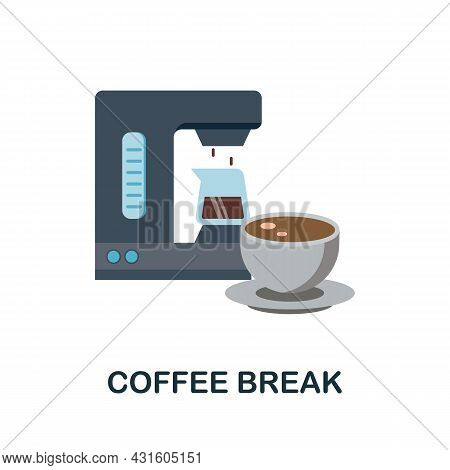 Coffee Break Flat Icon. Colored Sign From Productivity Collection. Creative Coffee Break Icon Illust