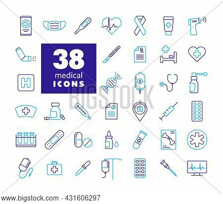 Medical Vector Icons Set. Medicine And Healthcare, Medical Support Sign. Graph Symbol For Medical We