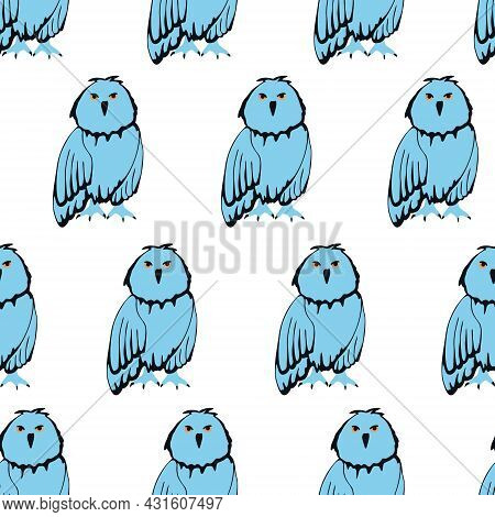 Seamless Pattern With Birds. Blue Owls. Nature Vector Background.