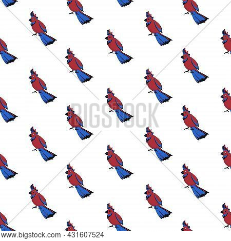 Seamless Pattern With Birds. Cute Cartoon Parrots. Nature Vector Background.
