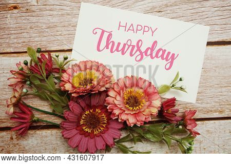 Happy Thursday Card Typography Text With Flower Bouquet On Wooden Background