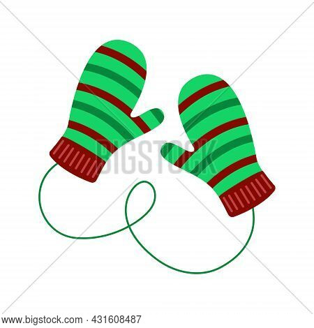 Cozy Pair Of Knitted Children Mittens With Striped Pattern. Woolen Winter Gloves Isolated On The Whi