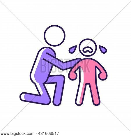 Comforting Crying Child Rgb Color Icon. Cuddling And Softly Talking To Kid. Empathizing Baby Feeling