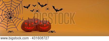 3d. Halloween Festival Banner Background On Orange Background Ghost Pumpkin, Bats, Gossamer, Spiders