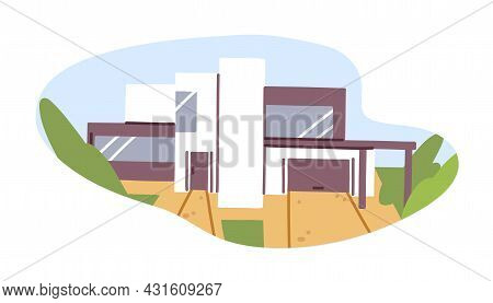 Exterior Of Modern House Building With Glass Windows And Garage. Construction Of Contemporary Archit
