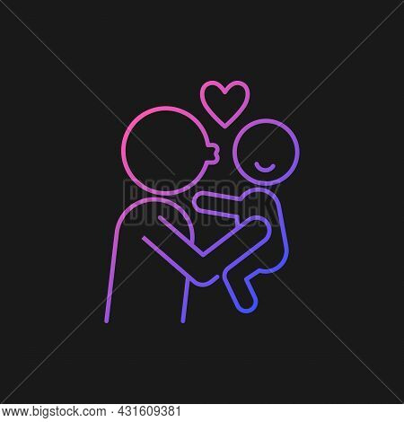 Kissing Child On Cheek Gradient Vector Icon For Dark Theme. Showing Affection. Express Parental Love