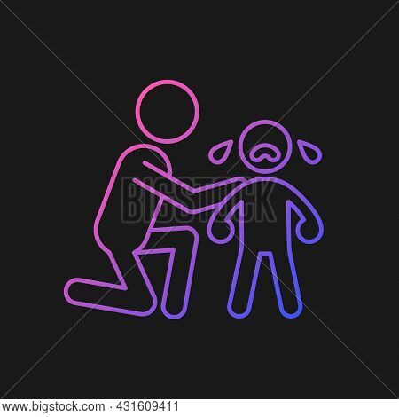 Comforting Crying Child Gradient Vector Icon For Dark Theme. Cuddling And Softly Talking To Kid. Sho