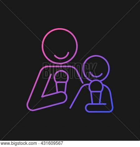 Eating Ice Cream Together Gradient Vector Icon For Dark Theme. Increase Family Bonding Over Food. En