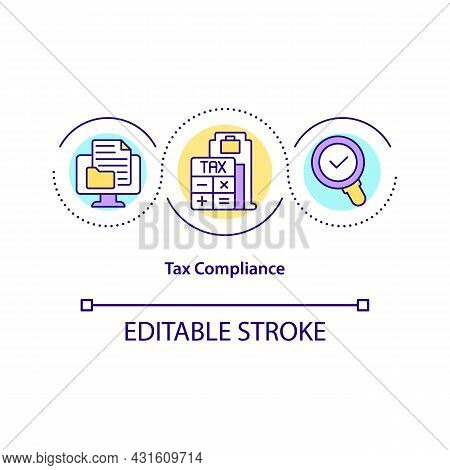 Tax Compliance Concept Icon. Taxation Requirements And Regulations Abstract Idea Thin Line Illustrat