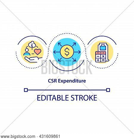Csr Expenditure Concept Icon. Finance Management Abstract Idea Thin Line Illustration. Control Csr A