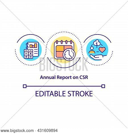 Annual Report On Csr Concept Icon. Periodic Review Abstract Idea Thin Line Illustration. Business Su