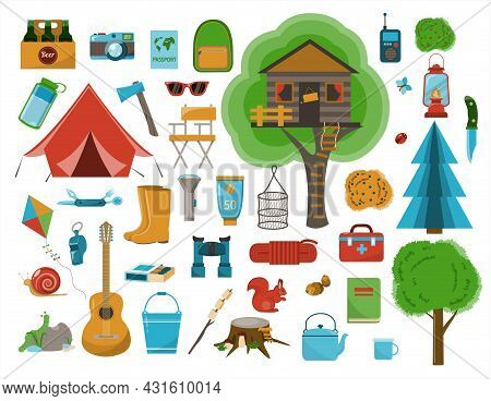 A Big Set Of Flat Icons For Camping. Vector Cartoon Illustration. Equipment For Hiking, Mountaineeri
