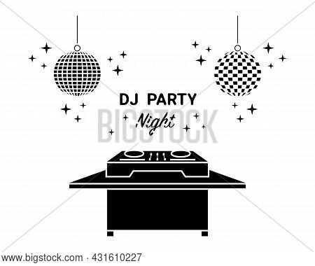 Dj Mixing Controller, Desk, Table At Nightclub Vector Icon Set. Night Party Playing Dance, Electroni