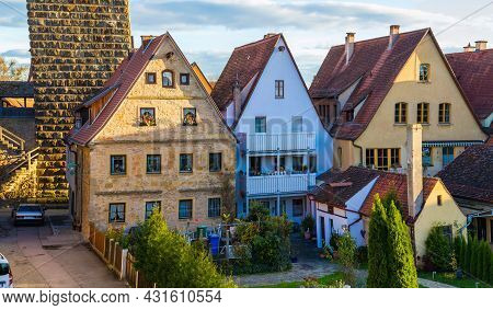 Old Houses In Rothenburg Ob Der Tauber, Picturesque Medieval City In Germany, Famous Unesco World Cu