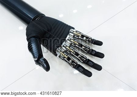 Bionic Hand. Prosthetics Limbs Of High Strength Carbon. View From Above. Close-up.