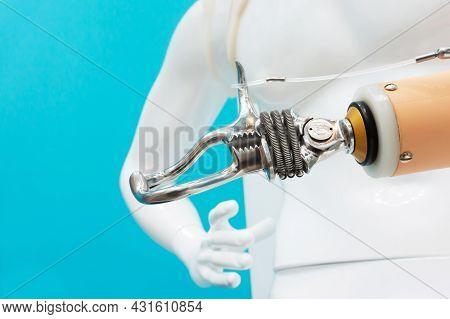 Prosthetic Arm For Work. Exhibition Of Modern Prosthesis. Prosthetic Upper Limbs.