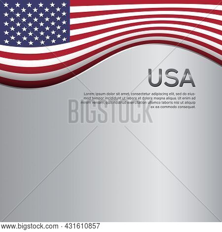 Abstract Waving Usa Flag. Creative Metal Background For American Patriotic Holiday Design. Business