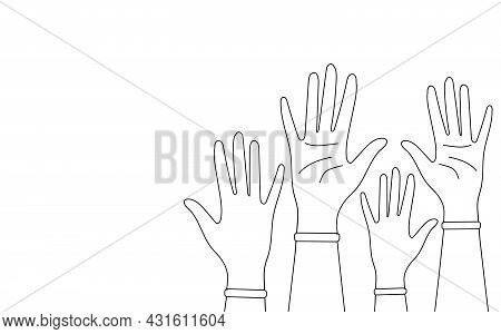 Hands Of People Linear Icon Isolated On White Background. Thin Black Line Customizable Illustration.