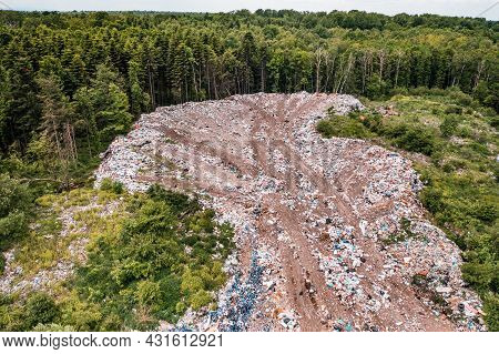 Destruction Of Forests And Ecological System By Garbage Removal In Forests, Top View, Destructive De