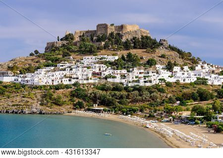 Sightseeing Of Greece. Lindos Village And Lindos Castle, Rhodes Island, Dodecanese, Greece