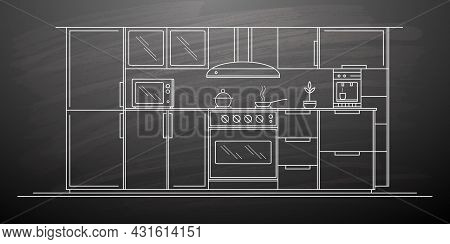Kitchen Drawing.interior Sketch Of A Kitchen Room.modern Home Furniture.vector Illustration.