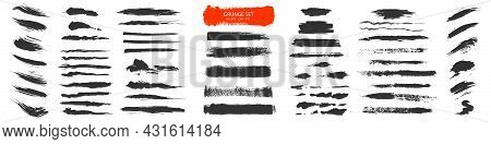 Brush Paint Vector Set. Strip Paint .roller Brushes With Colors Paint For Text .abstract Spot.grunge