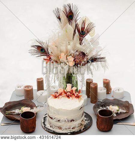 Wedding Cake, Wedding Celebration In Winter, Winter Landscapes.