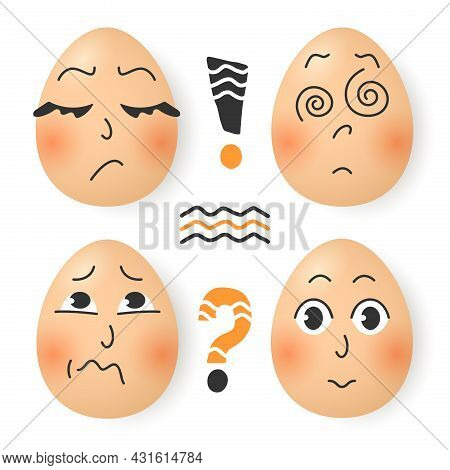 Set Of Cute Cartoon Eggs. Stickers Of Emotions. Guestion Mark, Exclamation Point And Lines. Expressi