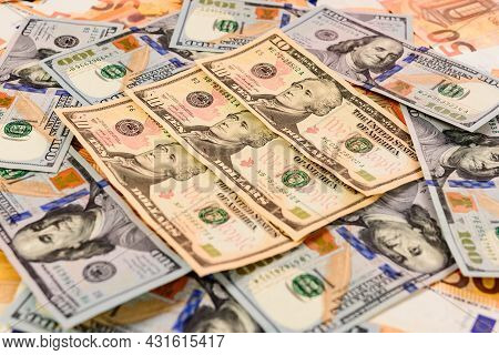 Many Dollars And Euros, Texture Of Money, The Advantage Of The Euro Over The Dollar.