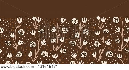 Vector Brown Ecru Border Floral Seamless Pattern