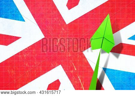 Upward Arrow On The Background Of The Flag Of England. Paper Plane. Economic Recovery. Copy Space. B
